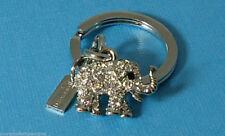 NEW Coach RARE Pave Swarovski Crystal Elephant Crystal Key Chain Ring Good Luck