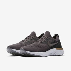 Nike Epic React Flyknit UK 10.5 EU45.5 Thunder Grey Peat Moss Metallic Pewter
