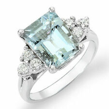 Estate ring 2.4 ct Aquamarine and diamond 14k