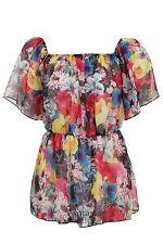 Ladies Short Sleeve See-Through Floral Print Summer Gypsy Women's Top 8-14