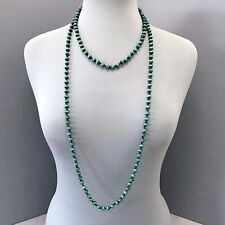 Long Black Knotted Rope Green wooden Beaded Design Bohemian Wrap Around Necklace