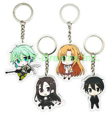 Set of 4 Sword Art Online SAO Anime Acrylic Keychain Kirito Yuuki Asuna Sinon