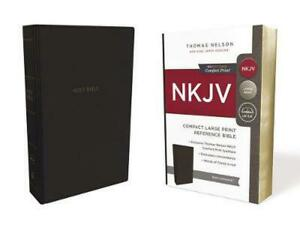 Nkjv, Reference Bible, Compact Large Print, Leathersoft, Black, Red Letter, Comf