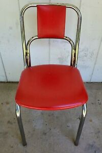 Chrome & Red Vinyl Kitchen Dining Chair Vitro Seating Company