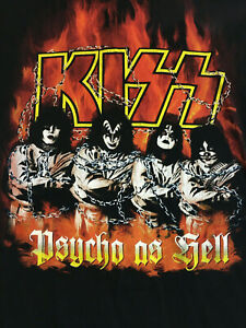 Vintage KISS Psycho as Hell Band T-Shirt GENE PAUL ACE PETER Concert Tour LARGE
