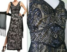 NWT SUE WONG Size 4 Soutache/Beaded Embroidered Cowl-back Black Illusion Gown