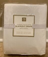 "NEW Pottery Barn Teen Classic Sailcloth BLACKOUT 44x96"" Drape WHITE"