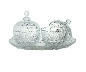3PC Glass Sweet Sugar Bowl With Lid Tray Crystal Effect Candy Bonbon Dish Jar