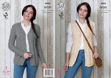 Womens Cardigan Waistcoat Knitting Pattern King Cole Ladies Big Value Aran 4432
