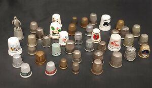 Antique /  Vintage Thimble Collection LOT of 41 - Advertising, Porcelain, Metal