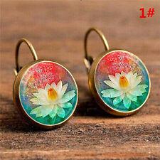Elegant Round Stud Ear Vintage Women Girls Lady Crystal Flower Hoop Earrings 3c 6