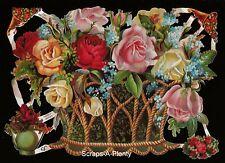 Die Cut Scrap German Victorian Style Embossed - Flower Rose Basket       EF7181
