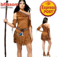 K67 Ladies Pocahontas Native American Indian Wild West Fancy Dress Party Costume