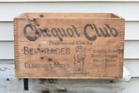 Antique Vintage Clicquot Club Dovetail Eskimo Boy Beverage Soda Crate Circa 1920