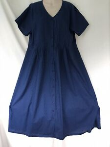 FROM PENNY PLAIN PRETTY NAVY COTTON EMBROIDERED SUMMER DRESS SIZE 20 L BNWT