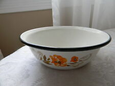 Vintage Old Farm White Enamel Metal Bowl with Floral / Black Rim Enamelware