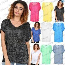 Polyester V Neck Short Sleeve T-Shirts for Women