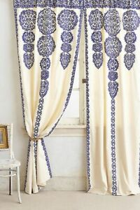 """ONE 1 PANEL 63"""" Anthropologie MARRAKECH Blue Embroidered Window Curtain Moroccan"""