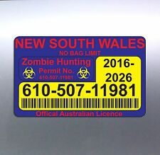 Zombie Hunting Permit 80 x 130 mm New South Wales licence car rego sticker vinyl