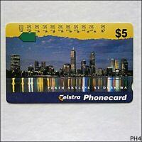 Telstra Cityscapes Perth Skyline At Dusk WA N955742 1044 $5 Phonecard (PH4)