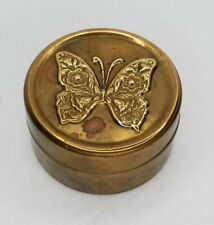 Vintage Jewellery Butterfly Brass Round Tin Box