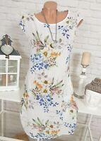 ITALY Damen Blumen Kleid Sommer Leinen Baumwolle Midi Weiß 36 38 40 42 44 46
