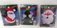 """3 Jewel Felt Ornament Kits Santa, Santa and Snowman 3"""" x 4"""""""