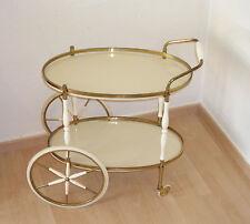 alter ovaler Servierwagen Teewagen Barwagen Beistelltisch Messing Glas weiß