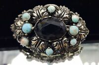 Vintage Turquoise glass cabochons brooch.