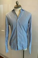 RALPH LAUREN BLACK LABEL MENS STRIPED BLUE SHIRT SIZE 15.5 MEDIUM SLIM RRP $399