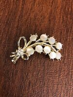 Vintage Mother Of Pearl Floral Lead & Rhinestone Brooch Pin Gold Tone
