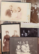 9 vintage cabinet card photo group couples & family foto cdv kids 1875 to 1910
