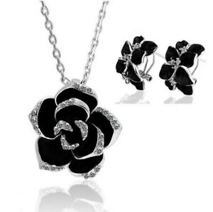 ROSE SILVER AND BLACK NECKLACE EARRINGS JEWELLERY SET WOMEN FASHION UK STOCK