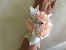 1x Peach Silk Rose Wedding Bridal Flower Wrist Corsage
