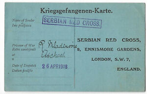 England 1918 Red Cross stationery card for Serbia POW supplies j.