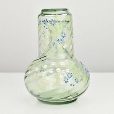 Art Nouveau Glass Water Bedside Carafe & Tumbler Theresienthal Enameled Flowers