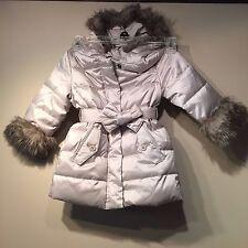Gap Toddler Girls Faux Fur Warmest Hooded Jacket Coat,Grey/Beige SZ 2 Years