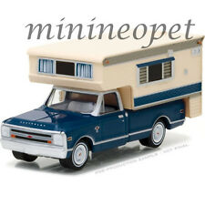 GREENLIGHT 29878 1968 CHEVY CHEVROLET CHEYENNE C10 with LARGE CAMPER 1/64 BLUE