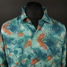 Mens Vintage Crazy Print Shirt 70s 80s 90s Retro 45/46 (2XL) Abstract Silk