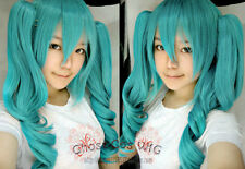 POP NEW VOCALOID Miku Cosplay costume wig new wig Blue wigs+2 Ponytail
