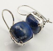 925 Sterling Silver Unusual Lapis Lazuli Nice Cushion Earrings 2.4 Cm 5.5 Grams