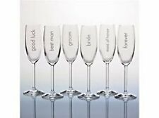 6 WATERFORD MARQUIS WEDDING TOASTING CHAMPAGNE FLUTES NIB BRIDE GROOM