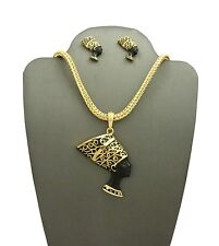 """NEW QUEEN NEFERTITI PENDANT 4mm/18"""" FRANCO CHAIN NECKLACE & EARRING SET RC2130G"""