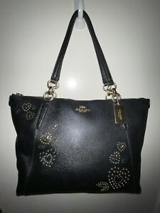 Coach F66871 Ava Hearts Bandana Rivets Black Leather Zip Shoulder Tote Bag