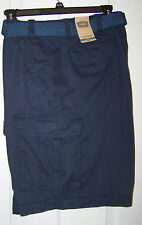 NEW ~ THE FOUNDRY MEN'S BIG & TALL FLAT FRONT NAVY CARGO WITH BELT SIZE: 48~ NWT