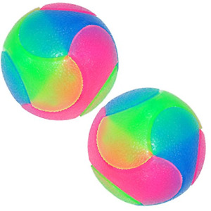 FineInno 2 pcs Light Up Dog Balls Flashing Elastic Ball Glow in The Dark Pet for
