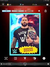 Topps WWE Slam Roman Reigns Chrome Throwbacks Blue Super Rare