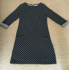 Boden black polka dot shift dress tunic with contrasting cuffs. Warm & versatile