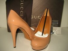New GUCCI US 7 EU 37.5 Dark Camel Patent Leather Classics Pumps High Heels Shoes