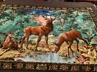 "Antique LARGE Deer Buck Tapestry 67"" x 46 1/2"""